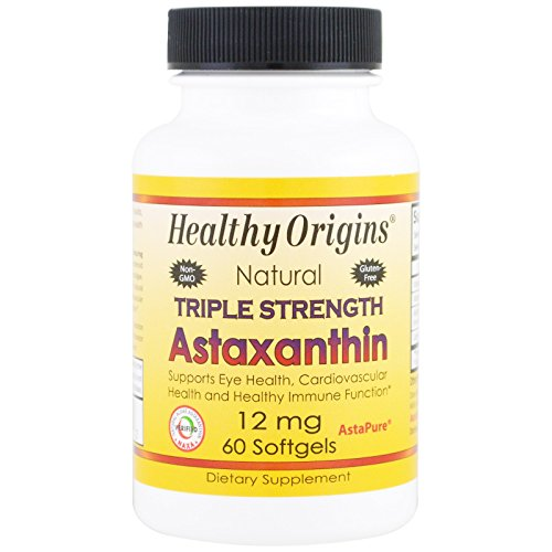 Healthy Origins, Natural Triple Strength Astaxanthin, 12 mg, 60 Softgels - 3PC by Healthy Origins