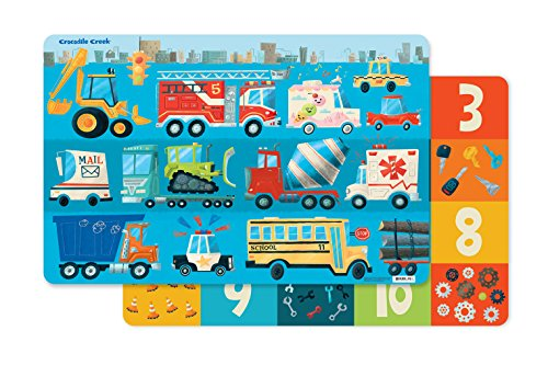 Crocodile Creek 2831-4 Busy City 2-Sided Placemat, Blue/Red/Orange/Yellow