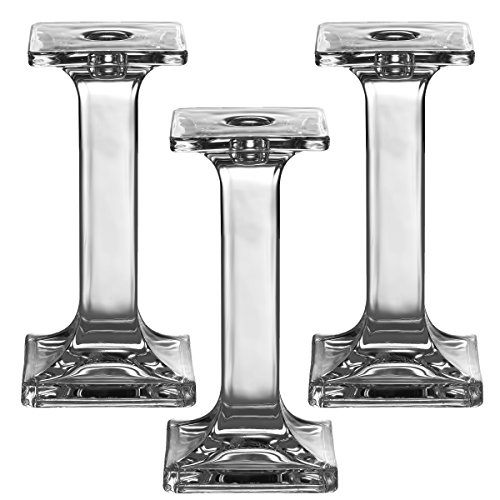Light In The Dark Set of 3 Glass Candle Stick Holders - Square Taper Candles Holder  for Candlestick, Dinner Candles, Party and Wedding Centerpieces, Table Decoration (7.5 Inch Tall)