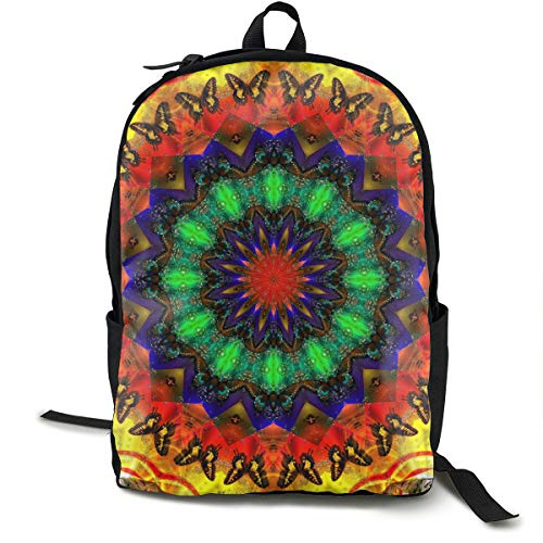 O-X_X-O Laptop Outdoor Backpack Travel Hiking&Camping Rucksack Pack Casual Large College School Daypack Shoulder Book Bags Back Classic Fashion Colorful Kaleidoscope Dye Tie Weed Mandala Bag