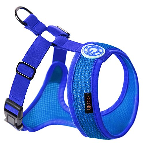 Gooby Choke Free Freedom Mesh Harness Specially Made for Small Dogs, X-Small, Blue - D-ring Freedom Harness