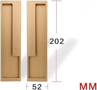 SUPRIEE-hm - Tirador de Puerta corredera Minimalista para Puerta corredera Invisible Plegable para Puerta de Armario empotrada Oculta, Metal, Dorado, 202×52mm: Amazon.es: Hogar