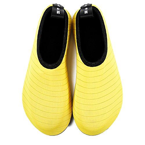 Water Quick Women Shoes Surf Stripe On HMIYA Dry Beach Yoga Aqua for Socks Barefoot Slip Yellow Swim Men dqHnpnt