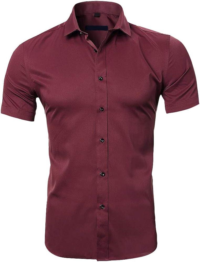 Mens Short Sleeve Non-Iron Bamboo Top Regular Fit Button Down Summer Dress Shirt