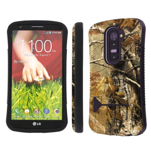 NakedShield Verizon / AT&T LG G2 D801 VS980 Hunter Camouflage Heavy Duty Shock Proof Armor Art KickStand Phone (Lg Hunter)