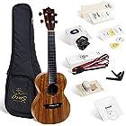 Enya OMS 04 Concert Ukulele Koa Top Bundle 23 Inch Ukelele with Padded Gig Bag, Strings, Tuner, Strap, Capo, Picks, Polishing cloth
