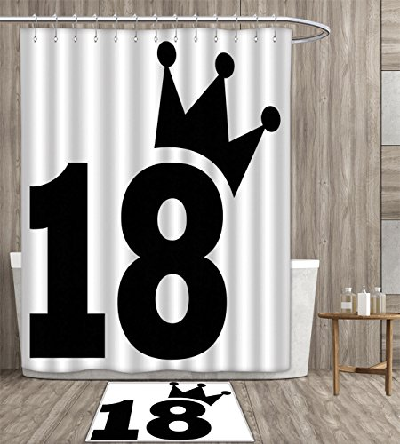 18th Birthday Shower Curtain Waterproof Cartoon Soccer Jersey Seem Bold 18 Number Party Sports Playing Art Print Fabric Bathroom Decor Set with Hook 36x72 inch Black and White gift bath rug