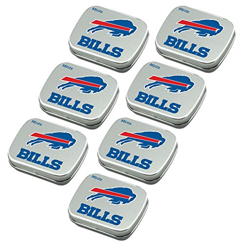 Buffalo Bills Peppermint Candies 7-Pack. NFL sugar-free mints in decorative tins. About 85 mints per tin. Perfect for gifts, Valentine's Day, stocking stuffers. Only from Worthy.