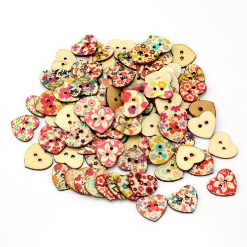 AllBeatuy Knöpfe in Herzform und mit Blumendruck, zum Selberaufnähen / Basteln, gemischte Auswahl, 100 Stück
