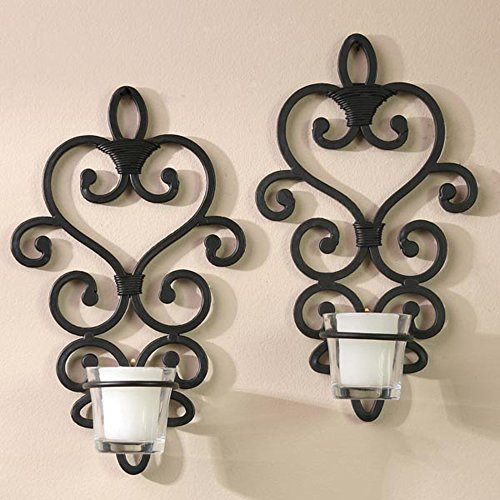 Hosleys Set of 2 Sturdy Metal Wall Art Sconces Candle Holder Home Spa Decor New