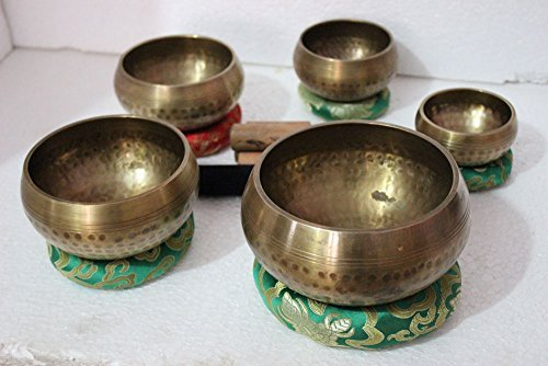 Beaten Tibetan Singing Bowl Set of 5 Hand Hammered - Buddhist Meditation Bowls From Nepal
