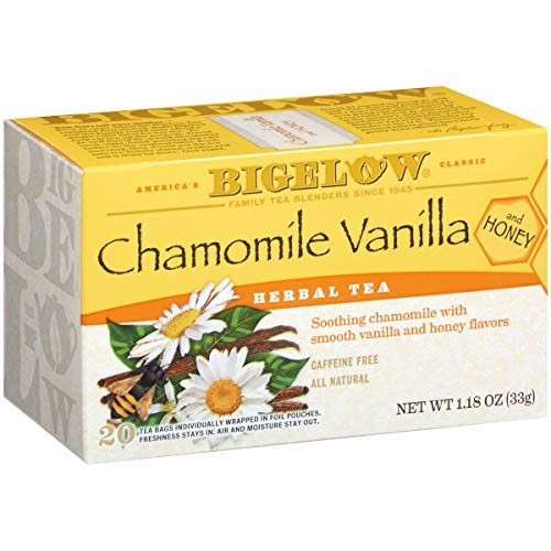 (Bigelow Chamomile Vanilla Herbal Tea With Honey 20 Count (Pack of 6), 120 Tea Bags Total. Caffeine-Free Individual Herbal Tisane Bags for Hot or Iced Tea, Drink Plain or Sweetened)