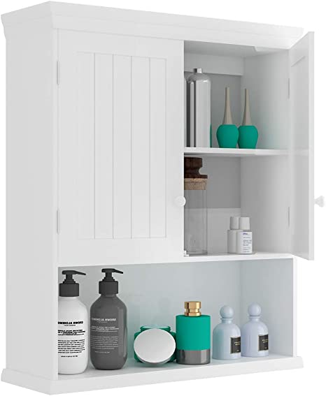 Amazon Com Goflame Bathroom Wall Cabinet 2 Door Toilet Cabinet With Hanging Design Wooden Medicine Cabinet With Height Adjustable Shelf Wall Mount Cabinet With Large Storage Space White Home Kitchen