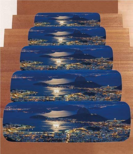 iPrint Coral Fleece Stair Treads,Night,Aerial View of Mountain Sugar Loaf and Botafogo Rio de Janeiro,Violet Blue Marigold Light Grey,(Set of 5) 8.6