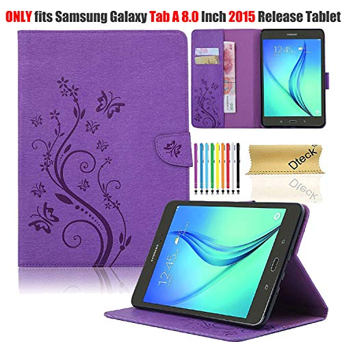 Galaxy Tab A 8.0 2015 Model Case with Stylus Pen, SM-T350 Case, Dteck PU Leather Folio Stand Case Cover for Samsung Galaxy Tab A 8 Inch 2015, Not Fit New Galaxy Tab A 8.0 2017 SM-T380/385 (Purple)