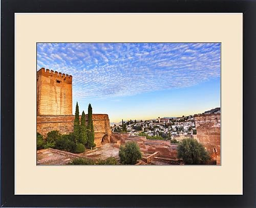Framed Print of Alhambra Castle Morning Sky ityscape Walls Granada Churches Andalusia Spain by Fine Art Storehouse