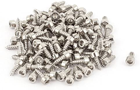 uxcell 3mm x 8mm Phillips Drive Fully Thread Self Tapping Pan Head Screws 100PCS