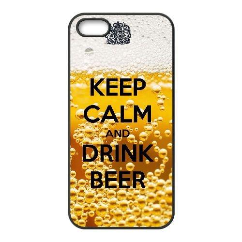 Gardez le calme B1J65 boissons Bière N8G7NB coque iPhone 5 5s cellule de cas de téléphone couvercle coque noire IF7OFP3DZ