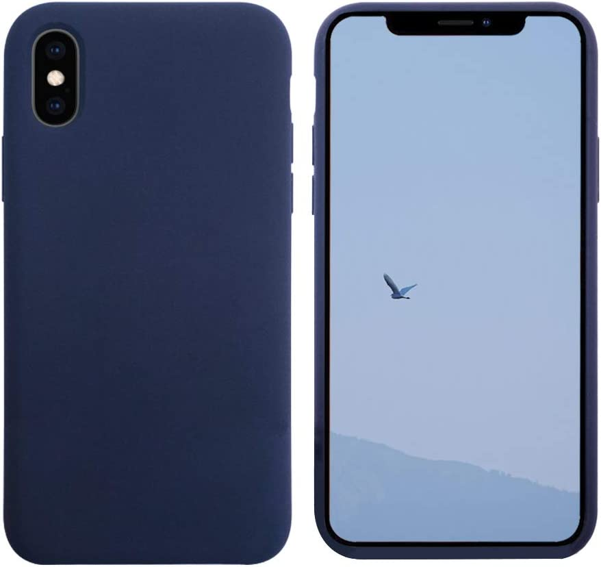 VANYUST Liquid Silicone Gel Rubber Shockproof Case Soft Microfiber Cloth Lining Cushion Compatible with iPhone X/Xs (Midnight Blue)