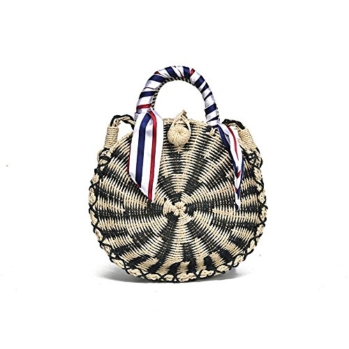 with Straw Weave Straw Black Round Zipper Leegoal Line Bag Cross Bag Handbags Shoulder Bag Body ng0w1PqX