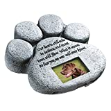 """Paw Print Pet Outdoor Memorial Stone, with 2""""x3"""" Picture Frame and Tribute Poem for Garden, Backyard, Lawn, Grave or Tombstone, Grey"""