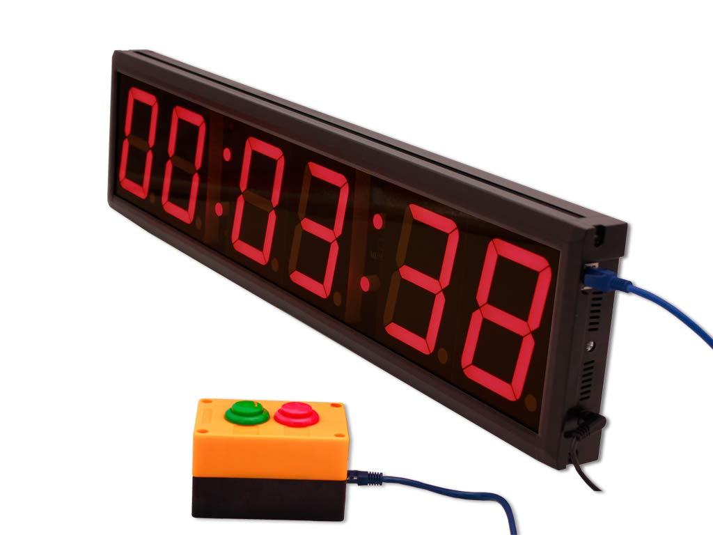 EU 4'' 6 Digits Clock Red Color Hours Minutes Seconds (Red+buttons box) by EU DISPLAY