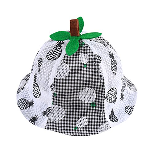 SMALLE Clearance Infant Kids Ananas Fruit Printed Pattern Bucket Hats Helme Bucket Cap Sunhat (42-46cm(Head Circumference), Black)