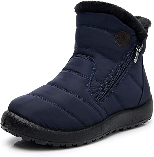 DNOQN Damen Kurzschaft Winter Stiefel Schneestiefel