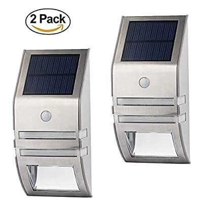 LED Solar Light Solar Garden Fence Light 5 LEDs for Wall Patio Pathway, Fence Stairs Stainless Steel Waterproof Outdoor Light with Motion Sensor