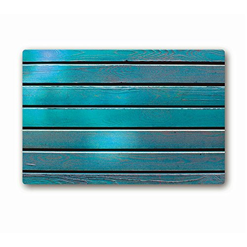 AILOVYO Retro Rustic Turquoise Barn Wooden Rubber Non-Slip Entry Way Floor Mat Outdoor Indoor Decor Rug Doormats, 23.6 x 15.7