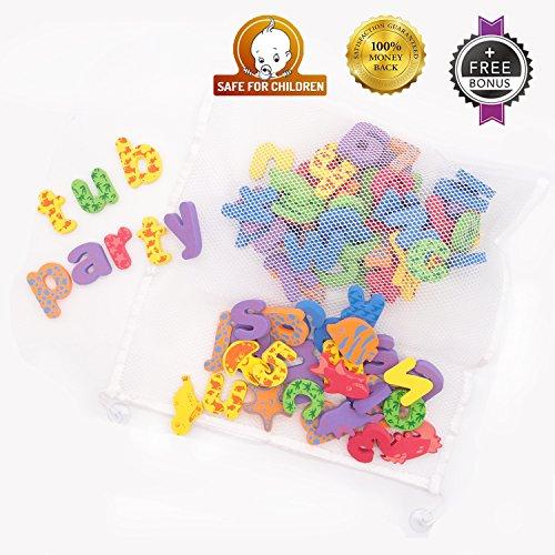 kids bath toys w suction mesh organizer bag pack of 84