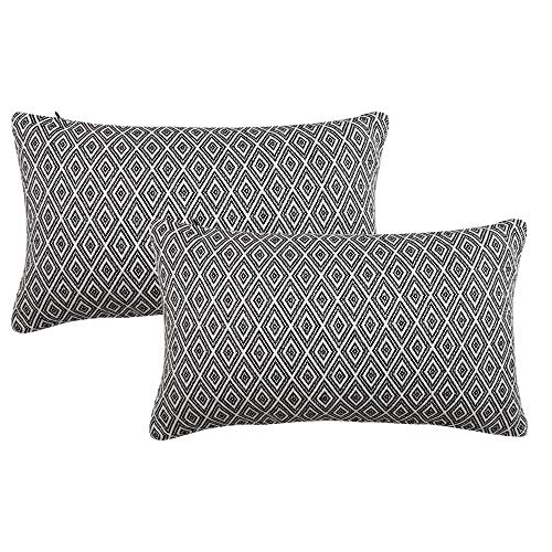 Ojia Pack of 2 Decorative Throw Pillow Cover Cotton Embroidered Cushion Case Square Damask Pillow Case for Sofa/Living Room/Car Modern Euro Art Decor (12 x 20 Inch, Yarn Dyed ()