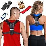 Posture Corrector for Women & Men + Bonus Stretching Band, Keychain, Adjustable Clavicle Brace Perfect for Shoulder Support, Upper Back Correction, Medical Kyphosis Trainer Under Clothes INSPIRATEK