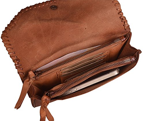 Real Purse 2Archer Women Genda Vintage Men Wallet 9009 Leather Folding and Brown for Long qpxEdx0w