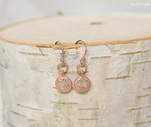 Rose Gold Pave Diamond Disc Earrings, Rose Gold, Genuine Diamonds,