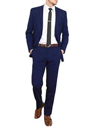Amazon.com: botong Royal Azul Slim Fit – Hombres tuberías de ...