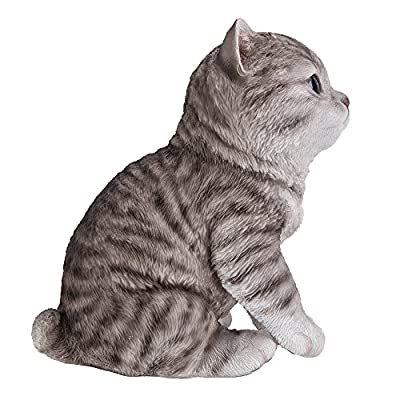 Pacific Giftware Realistic and Cute Grey Tabby Kitten Collectible Figurine Amazing Detail Glass Eyes Hand Painted Resin Life Size 8 inch Figurine Perfect for Cat Lover Collectible