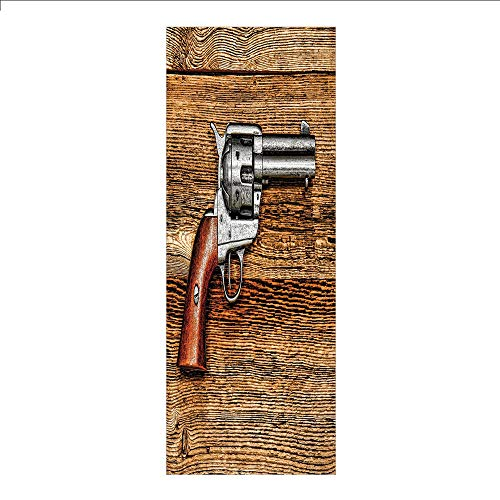 Decorative Privacy Window Film/Old Style Revolver Antique Six Shooter Gun Weapon Pistol on Aged Wooden Board Image/No-Glue Self Static Cling for Home Bedroom Bathroom Kitchen Office Decor Brown Grey