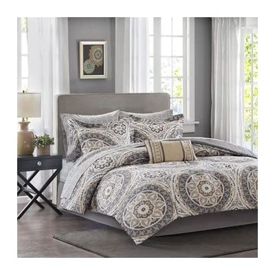 Madison Park MPE10-150 100 Percent Polyester Microfiber Printed Serenity 7 Piece Comforter Set44; Taupe - Twin - Serenity Complete Bed and Sheet Set can provide a whole new look with fun colors An intricate medallion pattern repeats across the top of bed With shades of teal, green and blue playing up this oversized print - comforter-sets, bedroom-sheets-comforters, bedroom - 51QUdrRJaHL. SS400  -