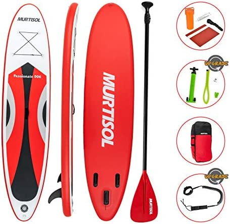 Murtisol Upgrade 11 Inflatable Stand Up Paddle Board, Ultra-Thick Durable PVC, Non-Slip Deck, SUP Accessories, Dual-Action Pump, Ankle Strap, Adjustable Paddle Red