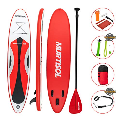 Murtisol Upgrade 11' Inflatable Stand Up Paddle Board, Ultra-Thick Durable PVC, Non-Slip Deck, SUP Accessories, Dual-Action Pump, Ankle Strap, Adjustable Paddle,Red