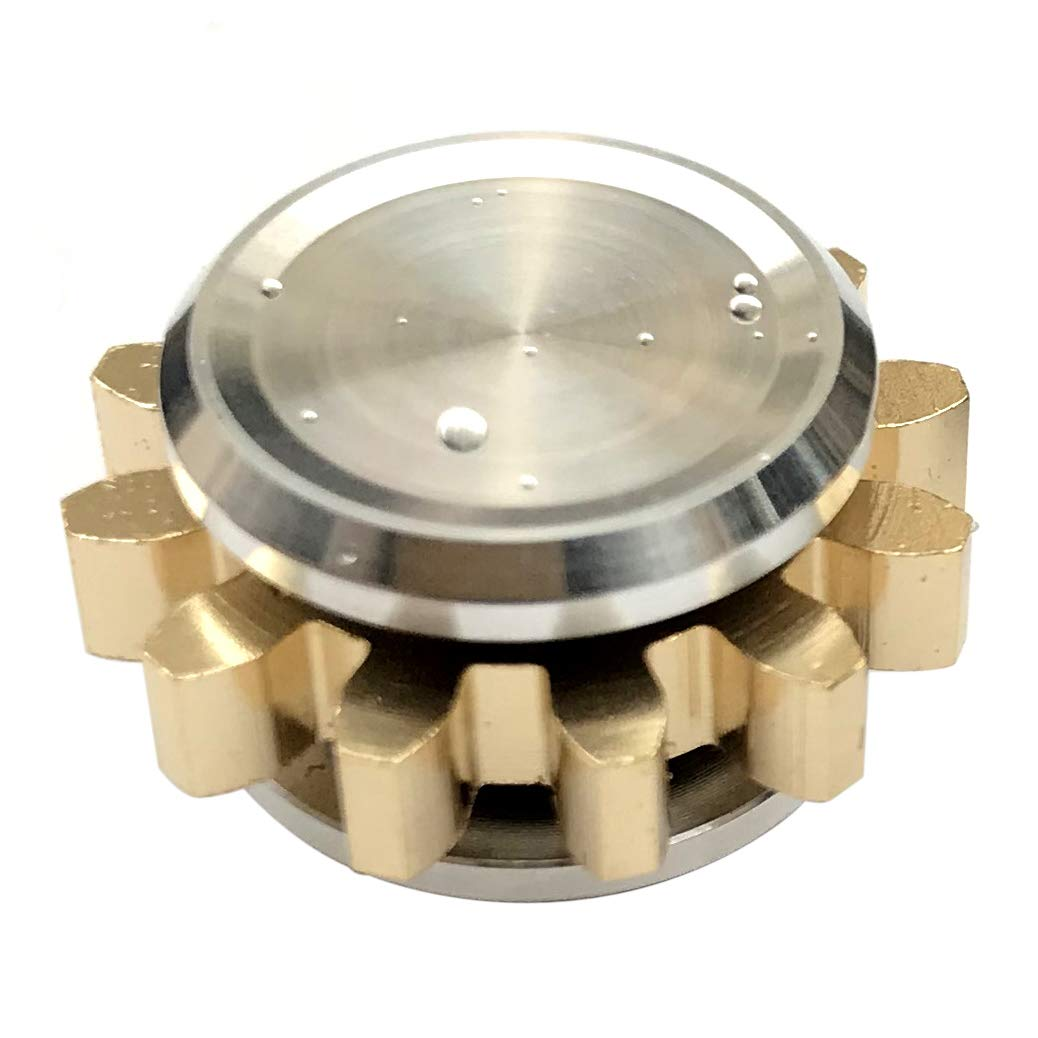 FREELOVE 9 Series Gear Design Pure Copper Brass Fidget Spinner Toy Premium EDC Industrial Mechinery Disassemble R188 Silent Stainless Steel Bearing,3~5 Minutes (1 Series Gear Silver, 1 Series Gear)
