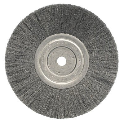 Weiler Trulock Narrow Face Wire Wheel Brush, Round Hole, Stainless Steel 302, Crimped Wire, 8