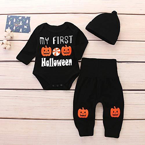 Tutina Zucca 3pcs Ragazzi Jumpsuit Cappello Lunga Manica Bambino Halloween Nero Pigiama Pagliaccetto Bambini Ragazze Byste Abiti Body Pantaloncini Neonato Fumetto xFUv8OO