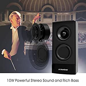 Avantree Desktop Bluetooth Computer Speakers, Wireless & Wired 2-in-1, Superb Stereo Audio, AC Powered 3.5mm / RCA Multimedia External Speakers for Laptop, PC, Mac, TV - SP750 [2 Year Warranty]
