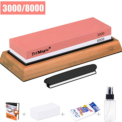 Knife Sharpening Stone Trimagic Two-sided Whetstone 3000/8000 Grit Wet Stone-Sharpener and Polishing Tool for Kitchen, Hunting and Pocket Knives or Blades by Whetstone