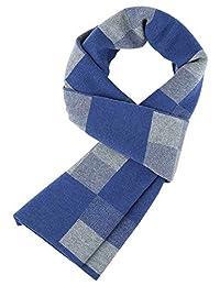 Panegy Men Scarf, Winter Fall Plaid Stripes Long Cashmere Pashmina Soft Elegant Scarves-Blue and Gray