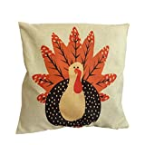 Little Turkey For Thanksgiving Day, Coper Thanksgiving Pillow Cover Thankful sentiment Pillowcases Embroidered (B)