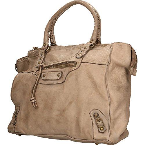 Bolso de mujer Con correa de hombro Chicca Borse Vintage en Piel Genuina Made in Italy 35x31x19 Cm Barro