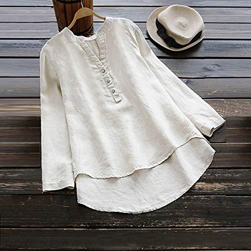 Tops Retro Bouton Femme T Chemise Manches Blouse Longue Yongii shirt Chic Décontractée Blanc Solide U1RHp7